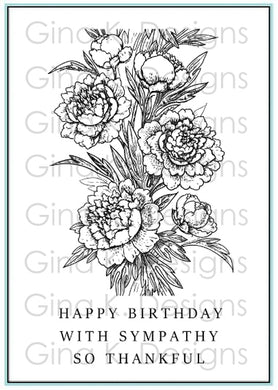 DIRECT BUY GINA K DESIGNS MEDIUM STAMP SET PEONY WISHES (IN STOCK)