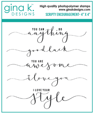 DIRECT BUY GINA K DESIGNS MINI STAMP SET SCRIPTY ENCOURAGEMENT (HAS TO BE ORDERED)
