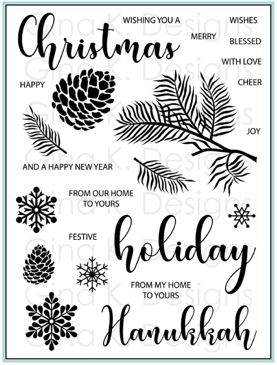 DIRECT BUY GINA K DESIGNS LARGE STAMP SET SEASONAL SENTIMENTS (HAS TO BE ORDERED)