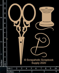"DIRECT BUY SCRAPAHOLICS CHIPBOARD EMBELLISHMENT  ""SEWING KIT"" (HAS TO BE ORDERED)"
