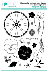 DIRECT BUY GINA K DESIGNS LARGE STAMP SET WILDFLOWERS AND WEEDS (HAS TO BE ORDERED)