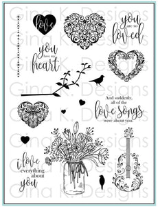 DIRECT BUY GINA K DESIGNS LARGE STAMP SET YOU HAVE MY HEART (HAS TO BE ORDERED)