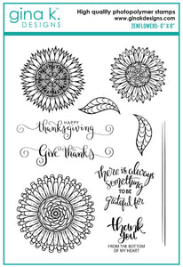DIRECT BUY GINA K DESIGNS LARGE STAMP ZENFLOWERS (HAS TO BE ORDERED)