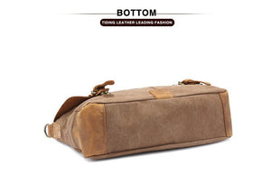 Classic Style Leather and Canvas Cross Body Messenger Bag