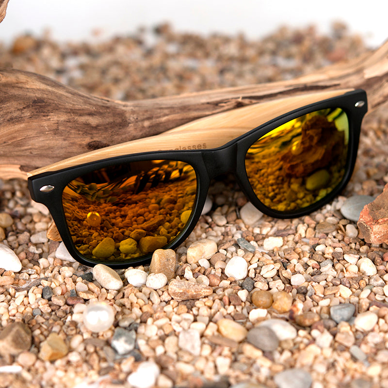 Vintage Inspired Black Sunglasses With Bamboo Temples Delivered in Wood Box - Great Gift Idea!
