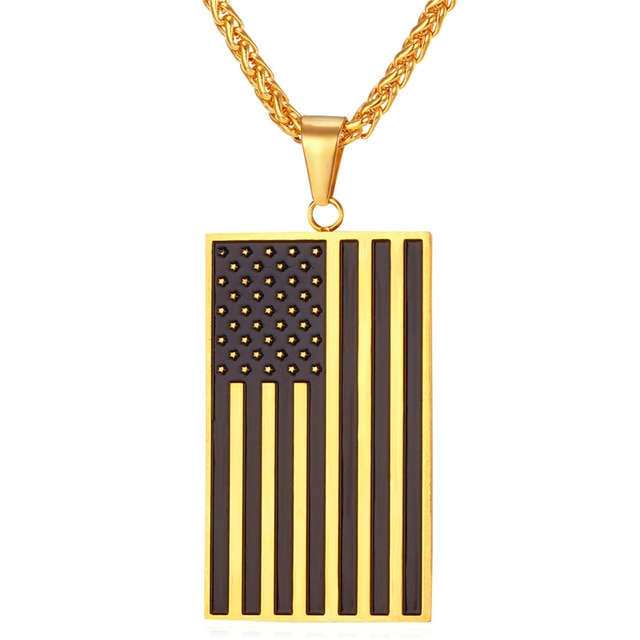 American Flag Patriotic Stars and Stripes Dog Tag Necklace
