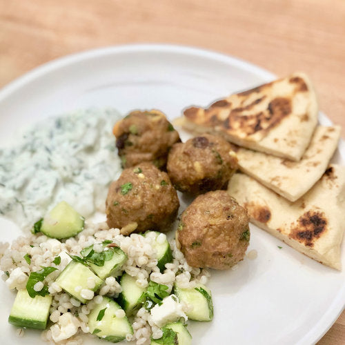 Lamb meatballs with homemade pita bread
