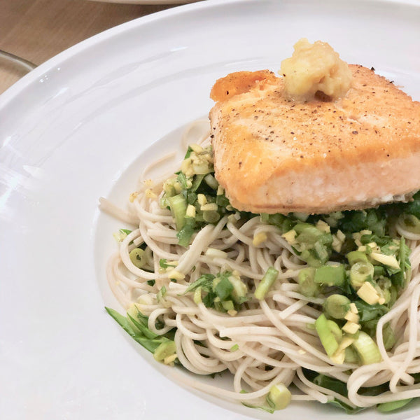 Miso Butter Salmon over Cold Soba Noodles with Ginger Scallion Soy Vinaigrette