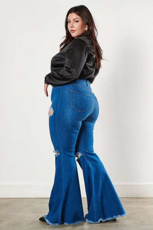 Wide Leg Distressed Demin Curvy