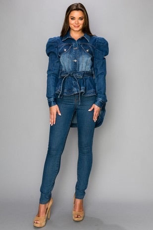 Puffy Shoulder Denim Jacket