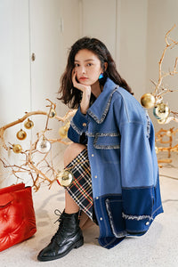 Oversized tasseled denim jacket