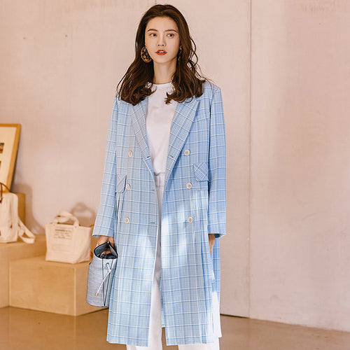 Pleated double breast trench coat
