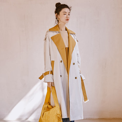 Oversized layered collar trench coat