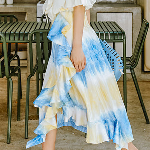 Asymmetric tiered flow print skirt