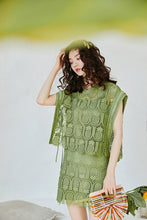 Load image into Gallery viewer, Green pineapple cut-out top and skirt set
