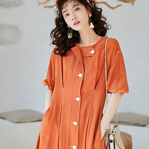 Orange topstitched coat