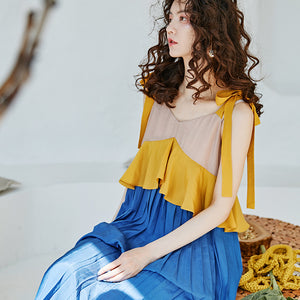 Pleated ruffled midi dress