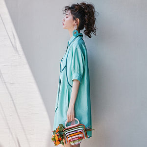 Mint trimmed tunic
