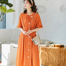 Load image into Gallery viewer, Orange topstitched coat