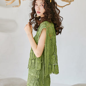 Green pineapple cut-out top and skirt set
