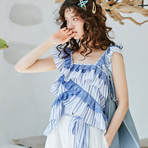 Blue lace trimmed ruffled top