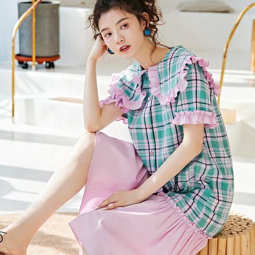 Checked ruffled midi dress