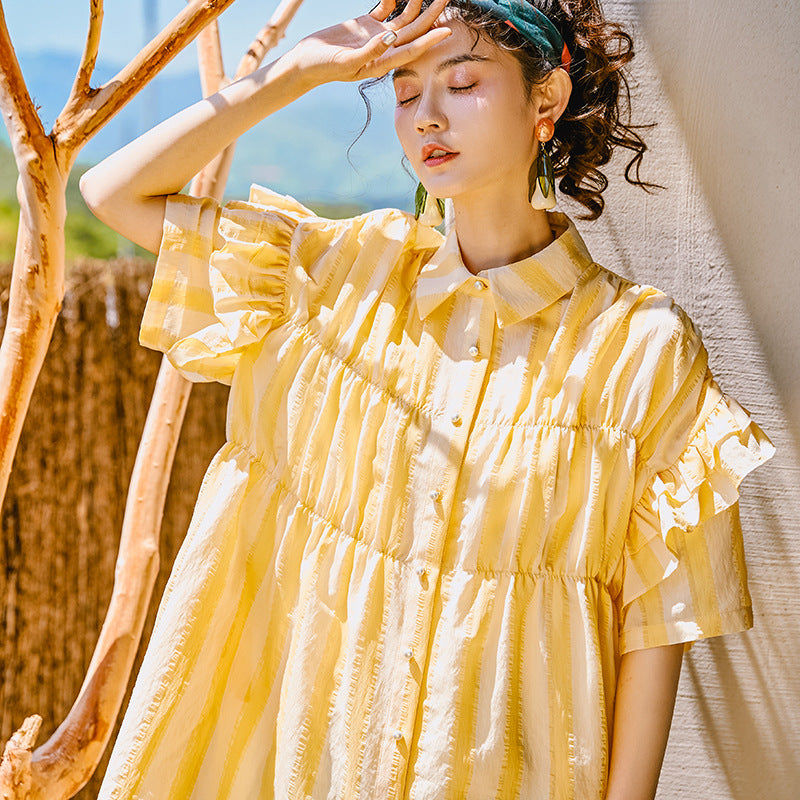 Yellow striped ruffled blouse
