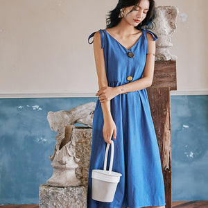 Blue gathered midi dress