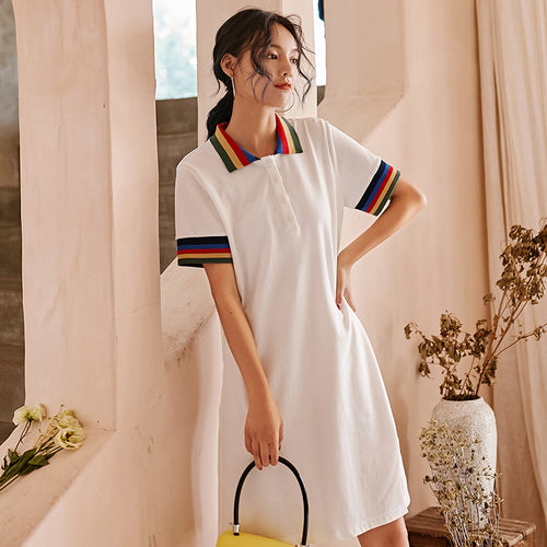 Rainbow trimmed polo dress