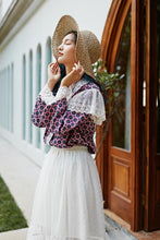 Load image into Gallery viewer, Purple floral lace trimmed shirt