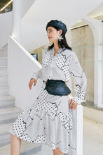 Load image into Gallery viewer, White and black patchwork midi dress