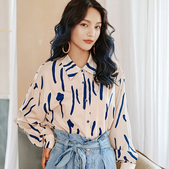 Oversized navy lines printed shirt
