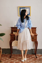 Load image into Gallery viewer, Blue striped shirt with lace