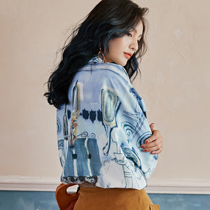 Oversized printed blue shirt