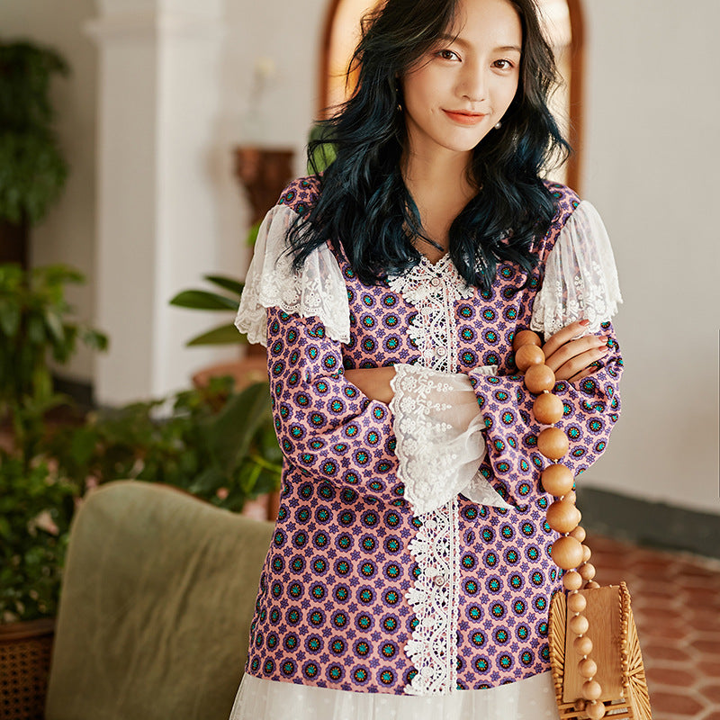 Purple floral lace trimmed shirt