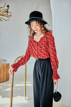 Load image into Gallery viewer, Red dots printed crepe blouse