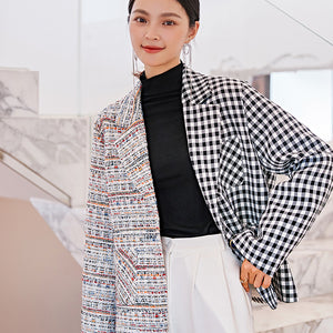 Asymmetrical checked tweed jacket