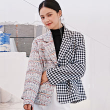 Load image into Gallery viewer, Asymmetrical checked tweed jacket