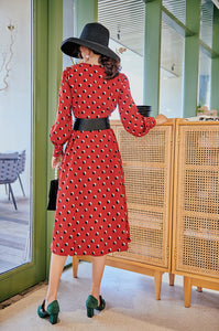 Red dots printed midi dress with belt
