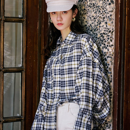 Oversized checked batwing shirt