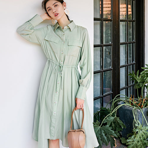 Irregular hem midi shirt dress