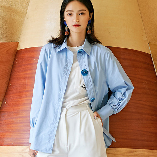 Blue basic cotton shirt