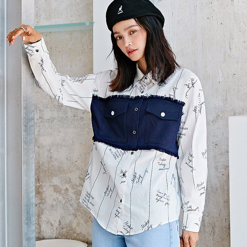 Patchwork oversized shirt