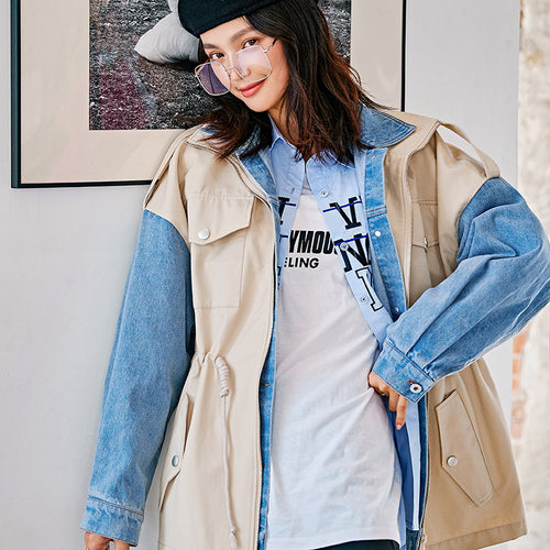 Oversized two pieces illusion jacket