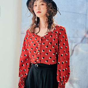 Red dots printed crepe blouse