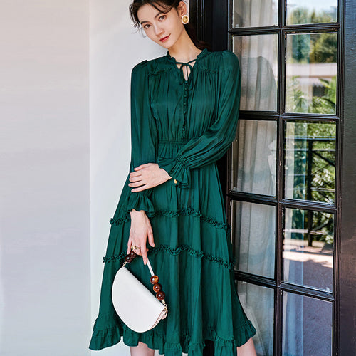Green midi ruffled dress