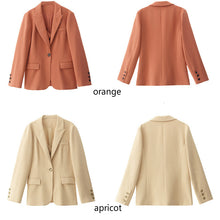 Load image into Gallery viewer, Two pieces illusion blazer in green, orange, apricot