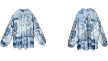Load image into Gallery viewer, Oversized printed blue shirt