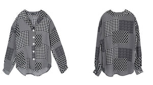 Oversized polka houndstooth shirt