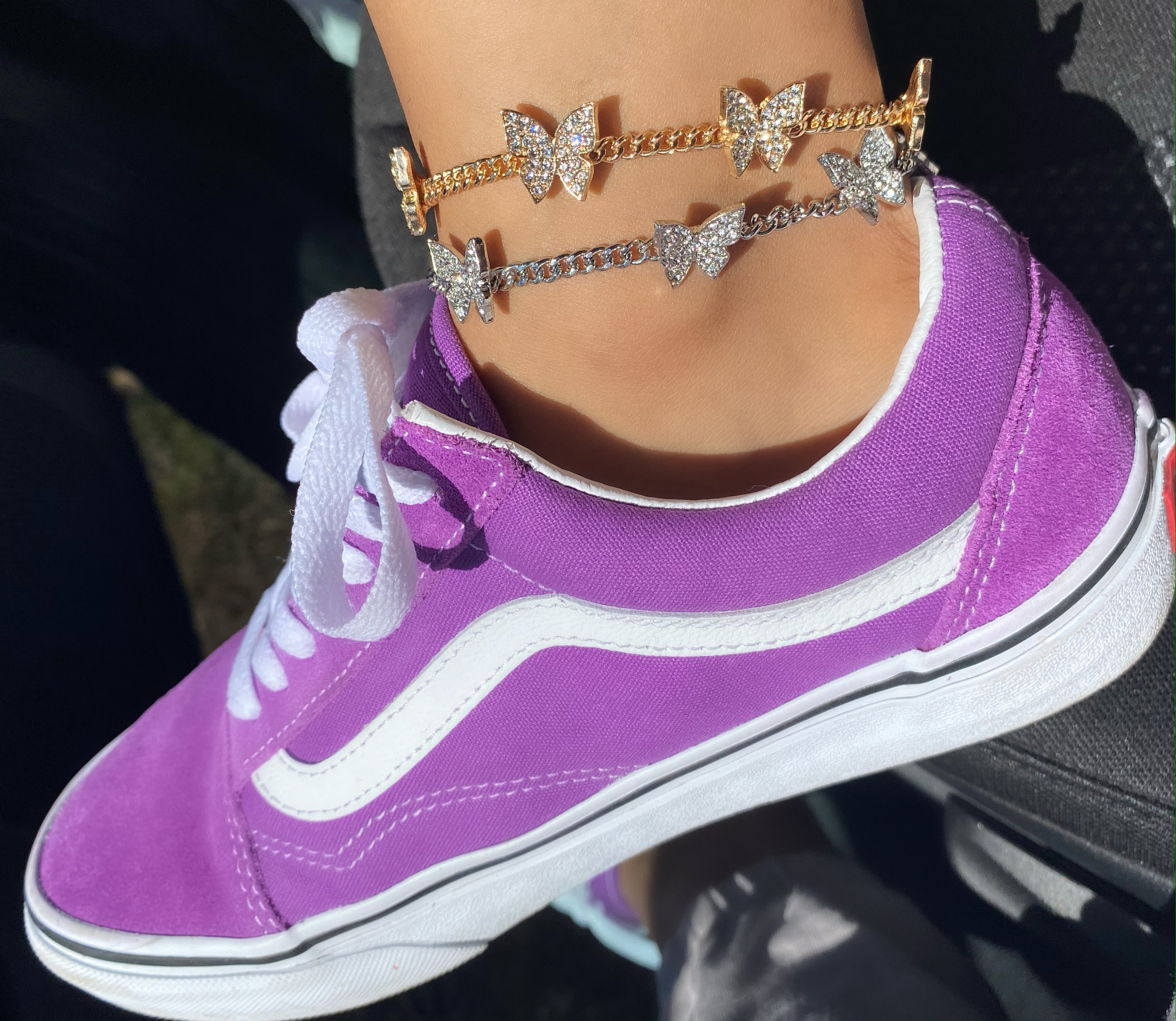 Queen butterfly anklet